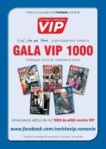 Revista VIP a oferit ultimele 3 invitatii pentru Gala VIP 1000