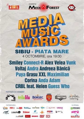 Smiley, Alex Velea si Andreea Banica vor canta printre lasere la Media Music Awards