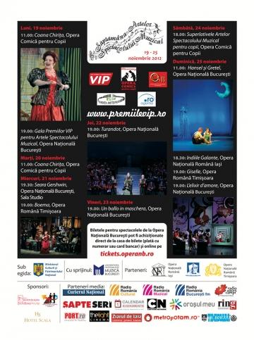 SAPTAMANA ARTELOR SPECTACOLULUI MUZICAL 19 – 25 noiembrie 2012